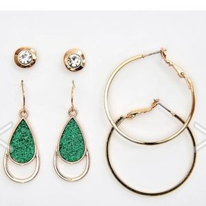 NWT 3 Pair Ashley Cooper Gold Green Earring Set